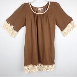 Brown Dress with Crotchet Trim and Sleeves